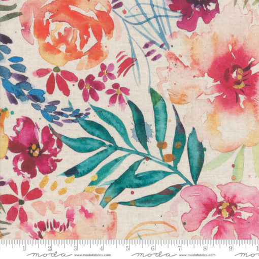 Brightly Blooming Linen   White