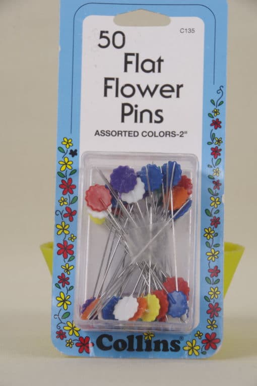 Collins 50 Flat Flower Pins Assorted