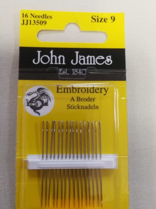 John James Embroidery Needles Size 9